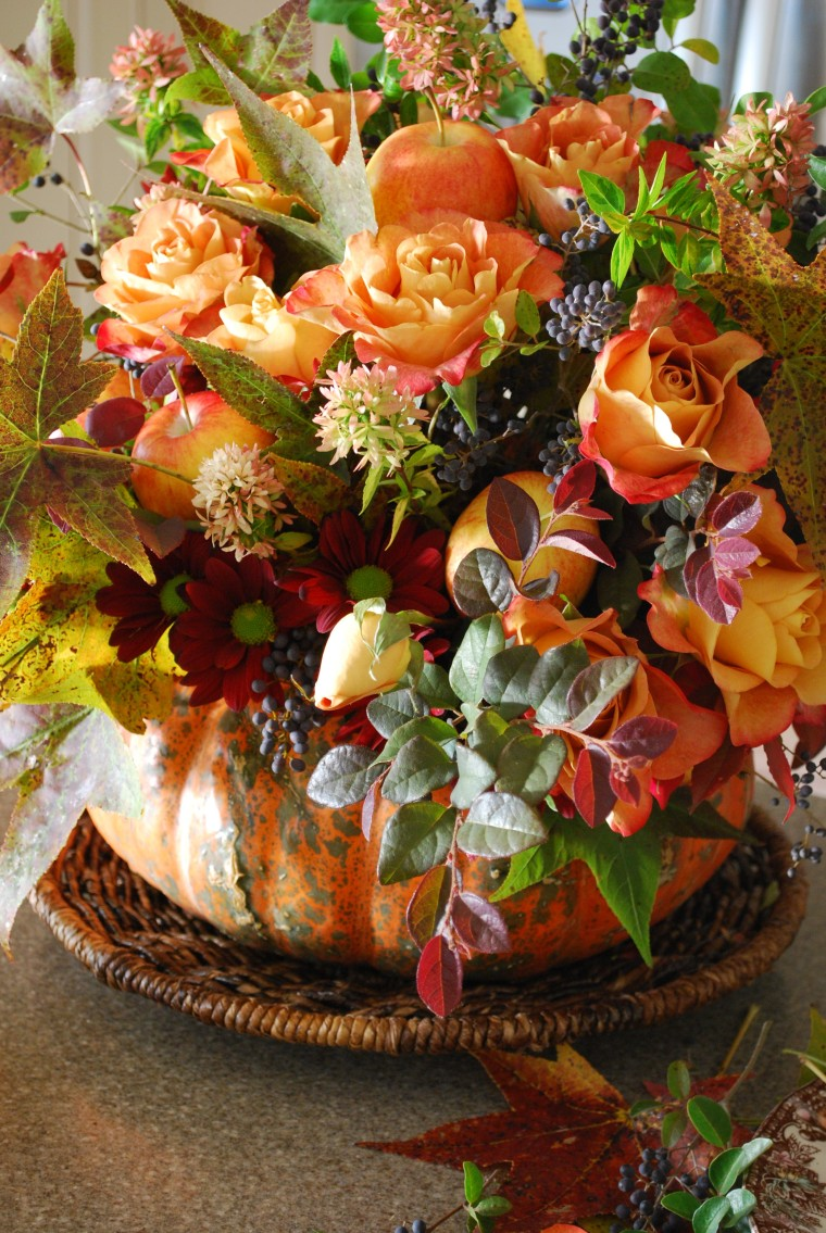 A pumpkin vase centerpiece home is where the boat