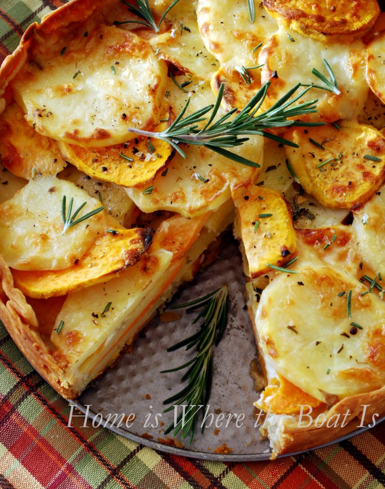 Potato Gratin with Rosemary Crust! Yukon Gold married with sweet potatoes in a gratin for a perfect side for fall or Thanksgiving. Served in a double crust that's layered with rosemary and Gruyère cheese! | homeiswheretheboatis.net #Thanksgiving #side #potato #recipe