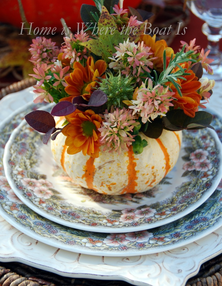 Creating a pumpkin vase centerpiece for thanksgiving