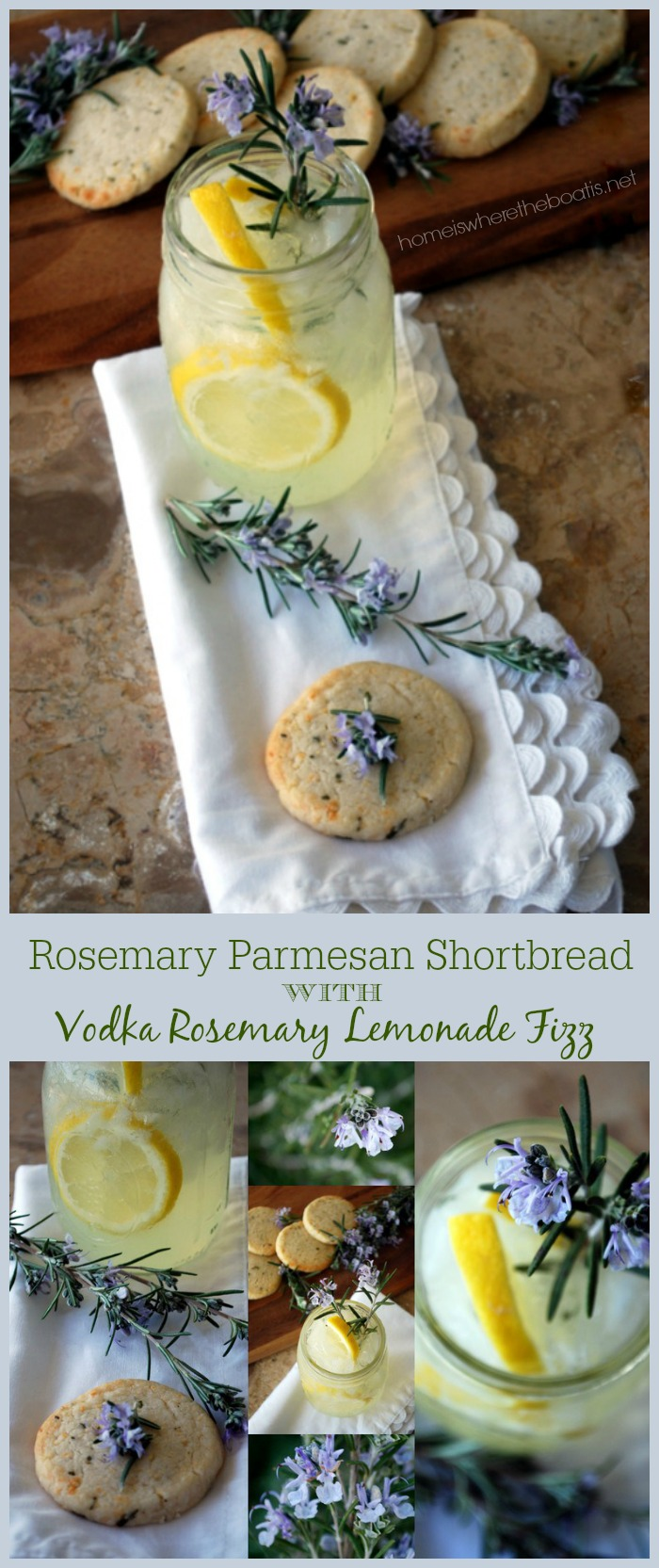 Rosemary Parm Shortbread with Vodka Rosemary Lemonade Fizz