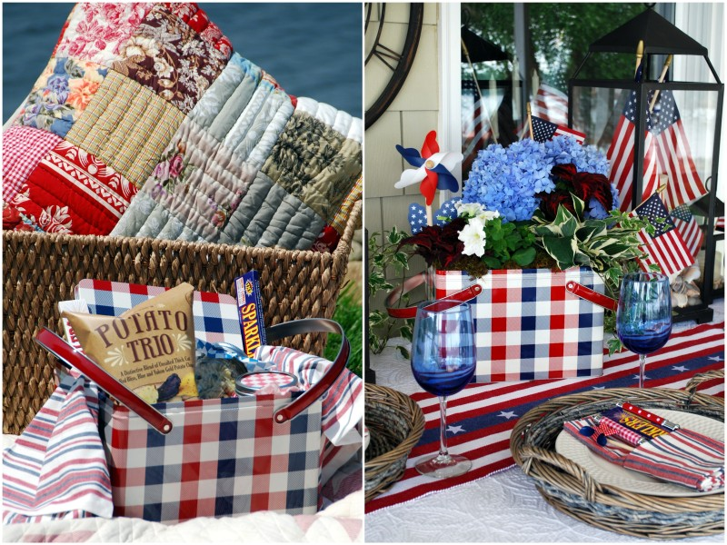 plaid picnic basket