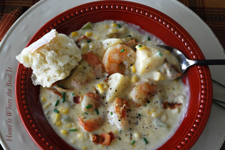 Cream of Plenty Soup, aka, Shrimp and Corn Chowder | ©homeiswheretheboatis.net #soup #recipes