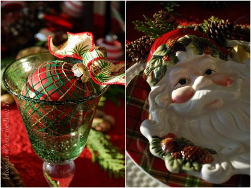 Santa Plaid & Pine Cone table