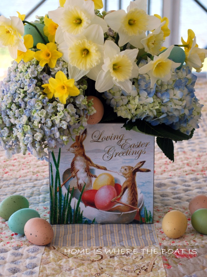 Loving Easter Greetings floral with daffodils, hydrangeas and eggs |homeiswheretheboatis.net #Easter
