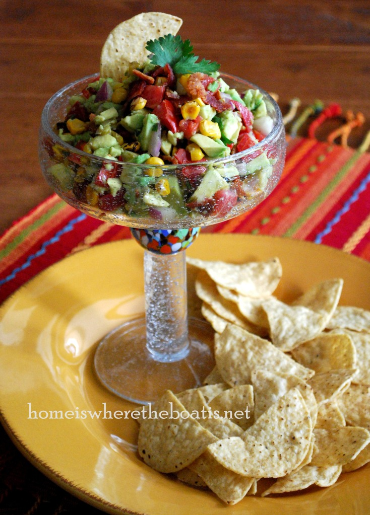 Corn and Bacon Guacamole | homeiswheretheboatis.net #cincodemayo