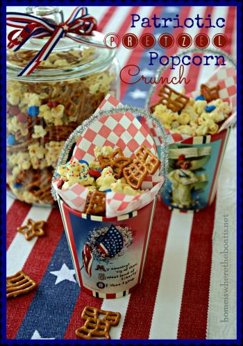 Patriotic Pretzel Popcorn Crunch