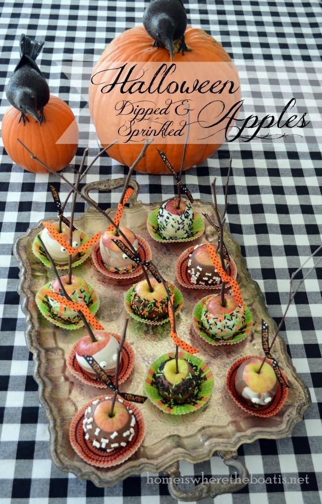 Halloween Dipped & Sprinkled Apples