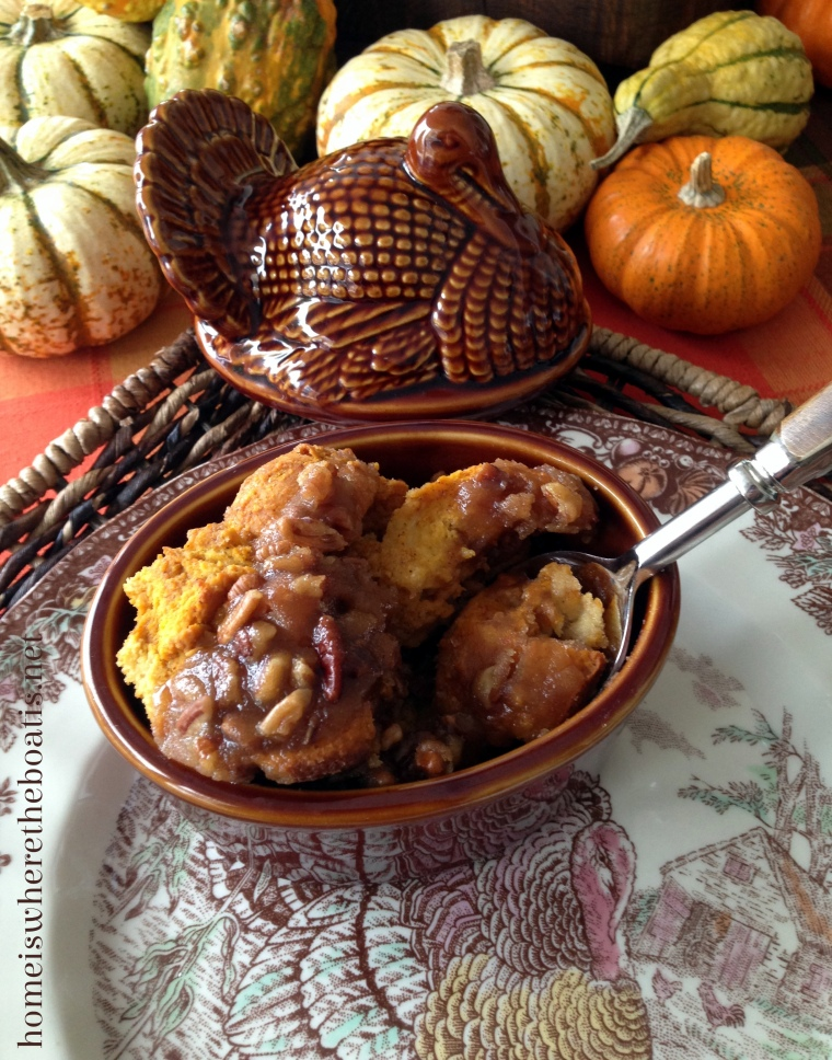 Caramel-Pecan-Pumpkin Bread Pudding