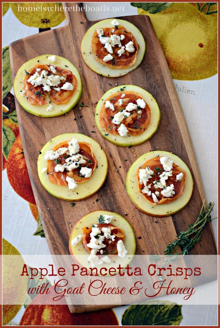 Apple Pancetta Crisps with Goat Cheese & Honey