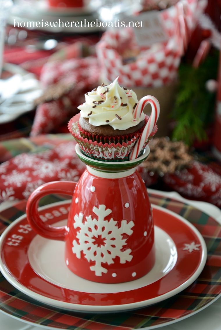 Hot Chocolate Cupcakes Quick and easy cupcakes for the busy holiday season, served with candy cane handles! | homeiswheretheboatis.net