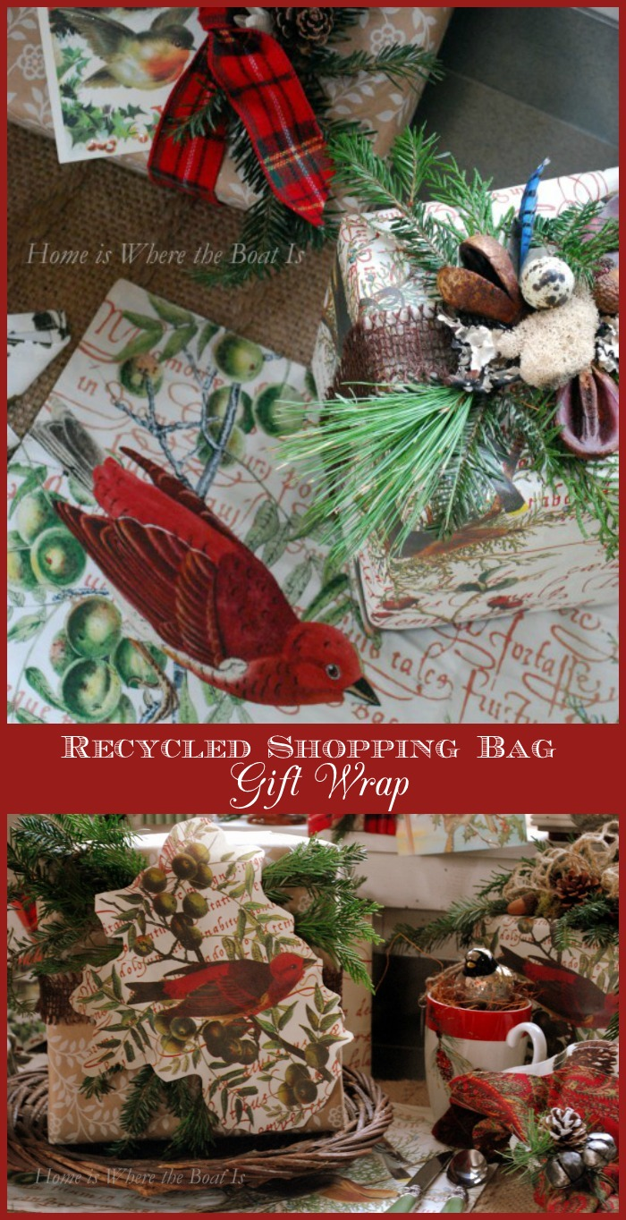 Recycled Shopping Bag Gift Wrap