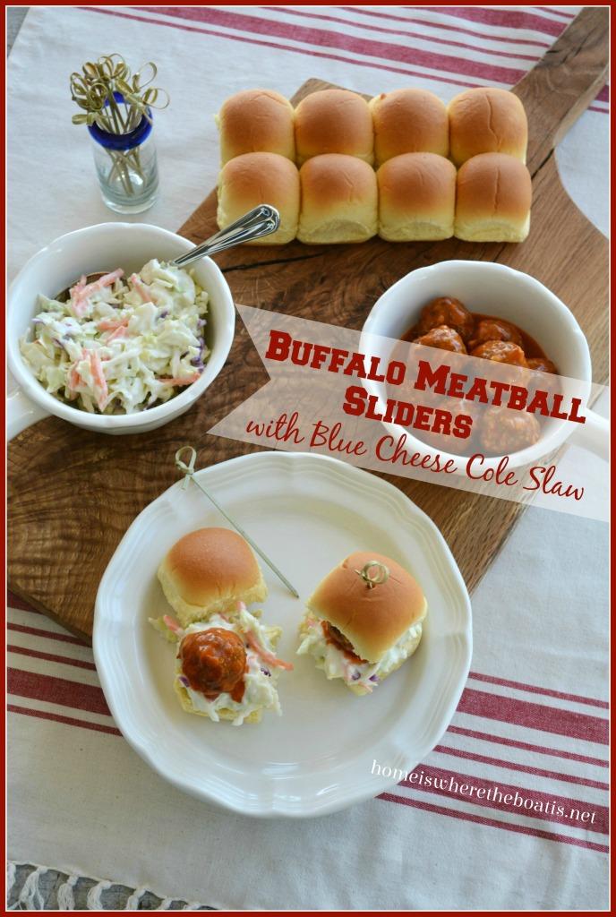 Buffalo Meatball Sliders with Blue Cheese Cole Slaw