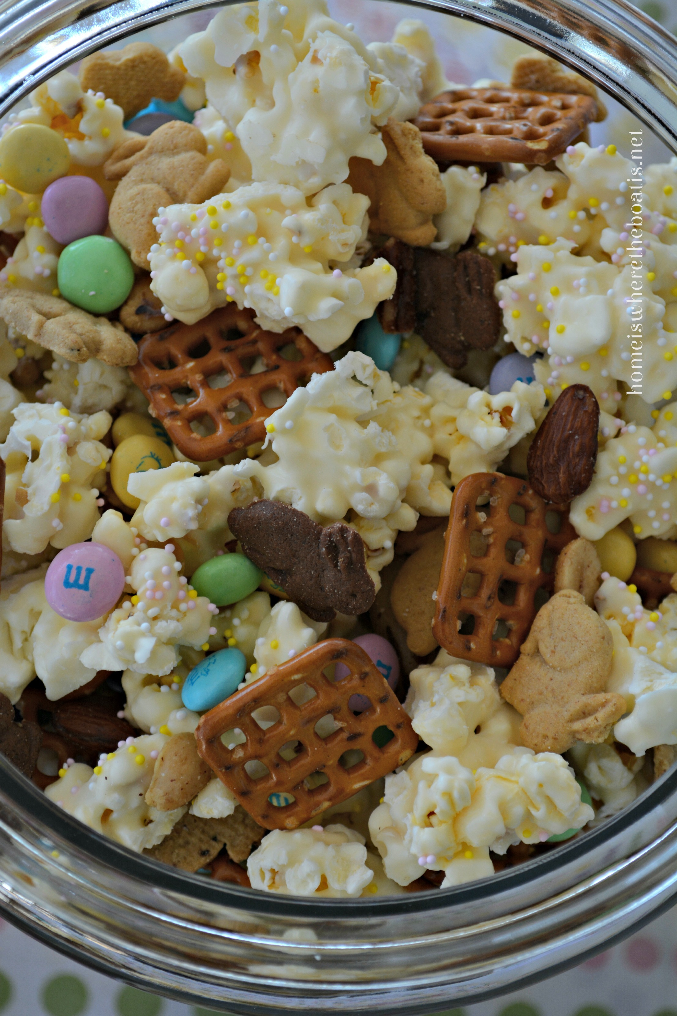 Sprinkle Some Easter Or Spring Colored Nonpareils On The White  Chocolate Coated Popcorn While The Candy Coating Is Still Warm.