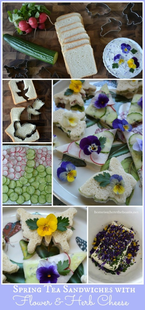 Spring Tea Sandwiches with Flower & Herb Cheese