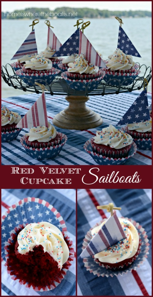 Red Velvet Cupcake Sailboats