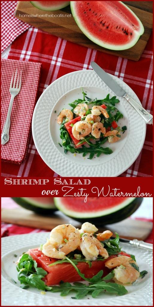 Shrimp Salad over Zesty Watermelon