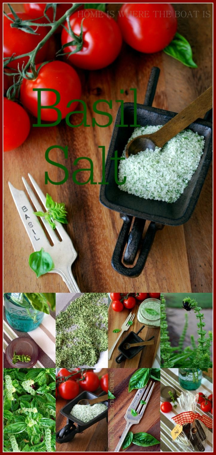 Basil Salt | ©homeiswheretheboatis.net #easy #summer #DIY #foodgift