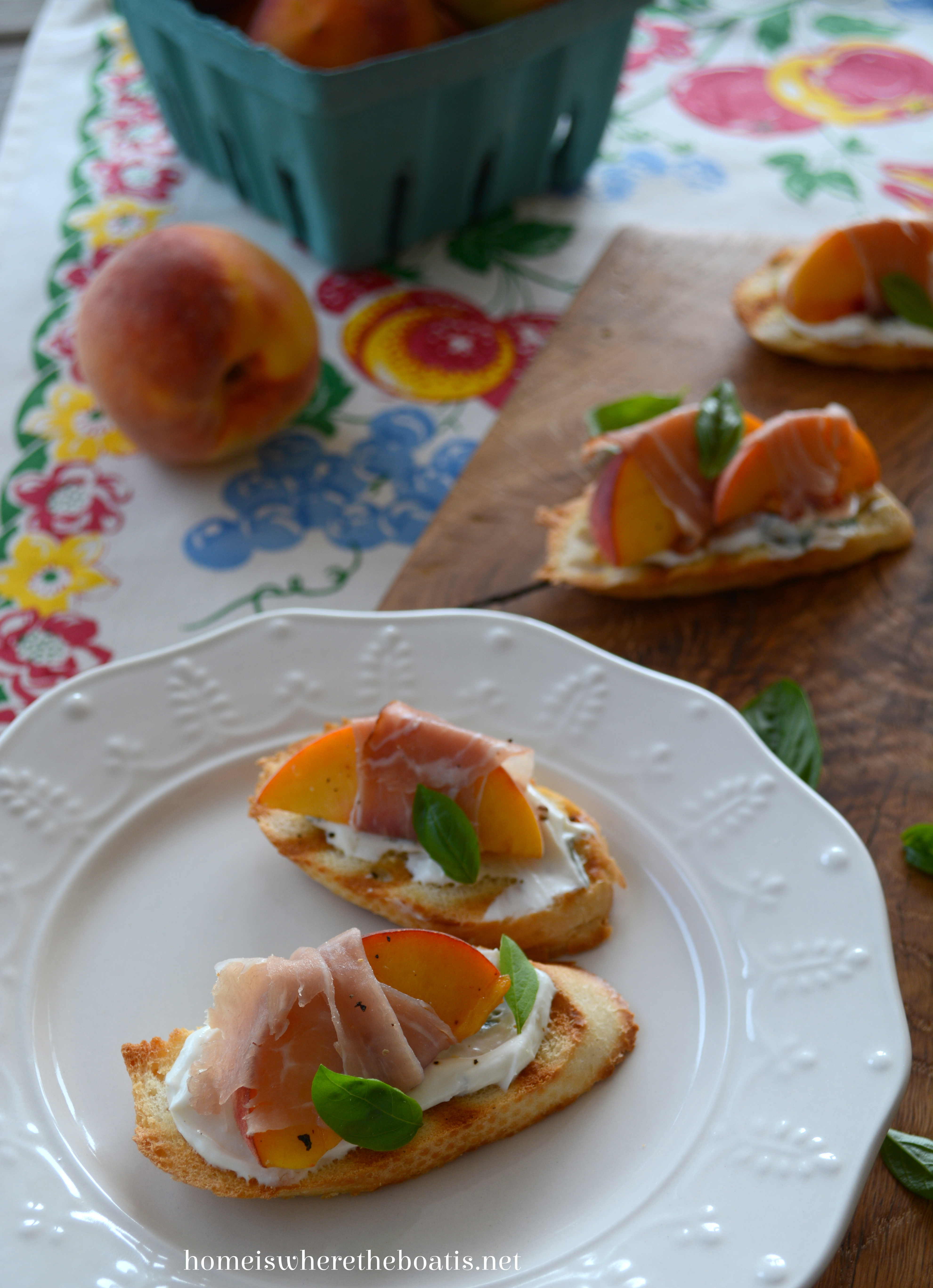 Peach and Prosciutto Crostini with Basil and Goat Cheese   Home is ...