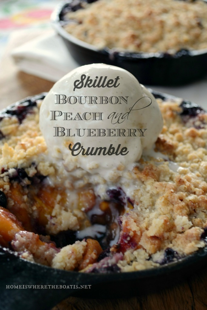 Skillet Bourbon Peach and Blueberry Crumble