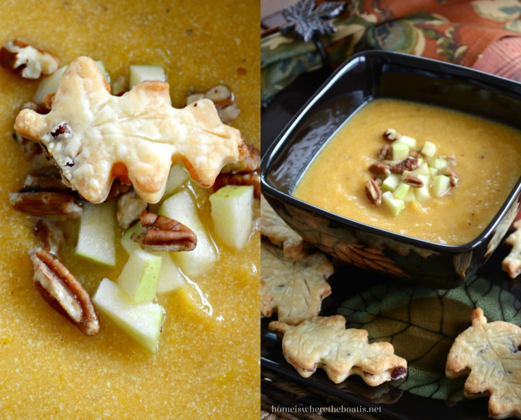 Butternut-Apple Soup with Cranberry-Cheddar-Pecan Pie Crust Leaves
