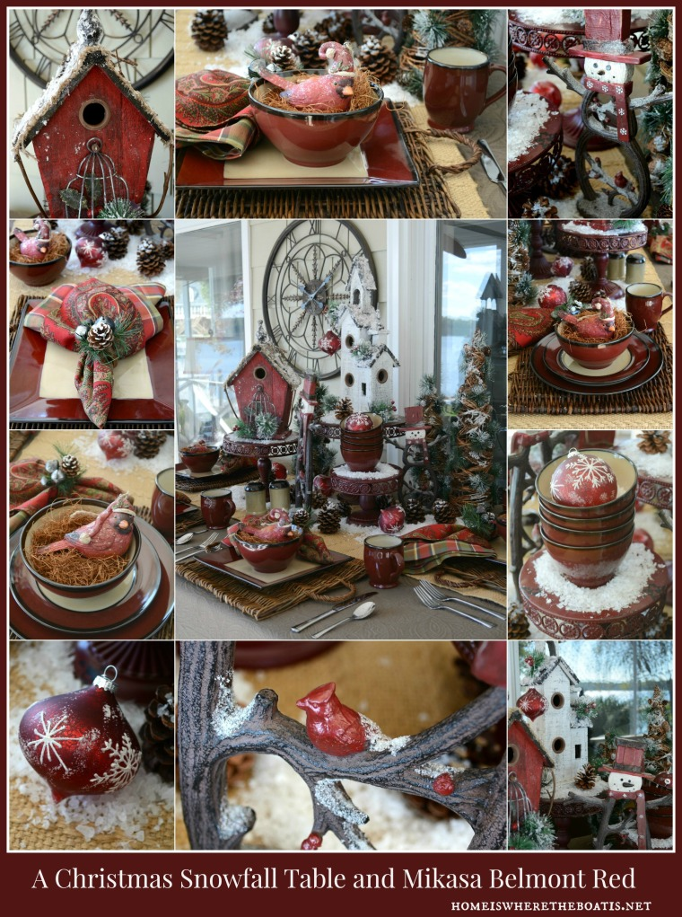 Christmas Snowfall Table with Mikasa Belmont Red Dinnerware
