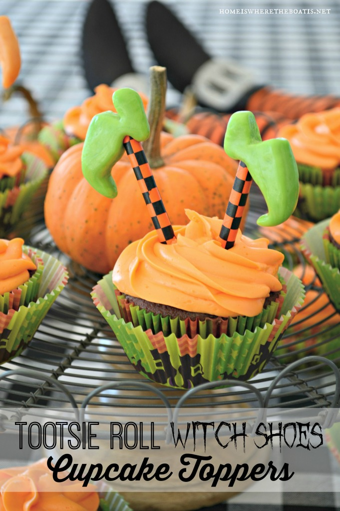 Tootsie Roll Witch Shoe Cupcake Toppers