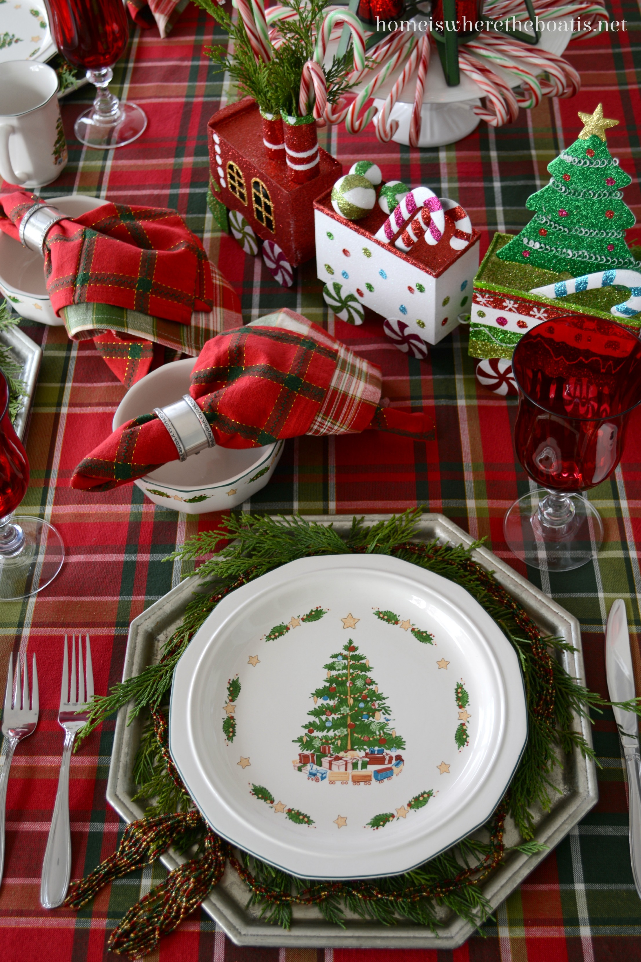 Christmas Cheer Trains Candy Canes Plaid And