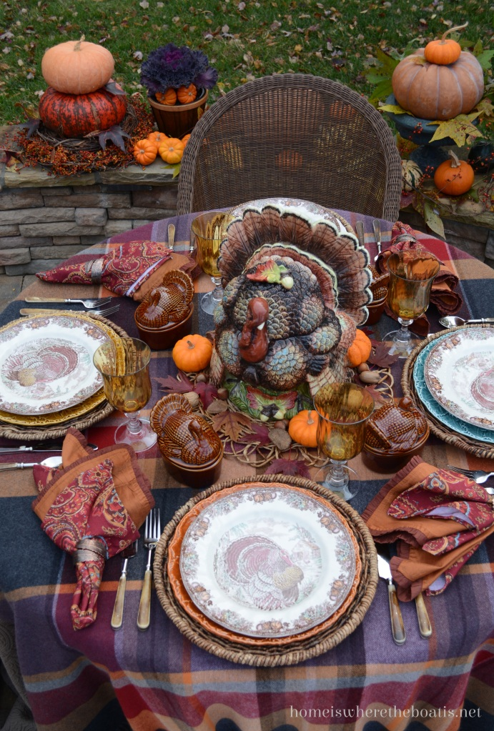 A turkey table with colorful trimmings home is where the