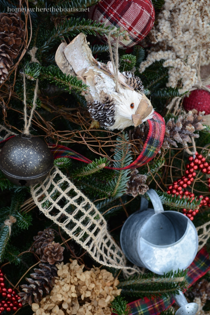 Bird and watering can ornaments Christmas tree Potting Shed | ©homeiswheretheboatis.net