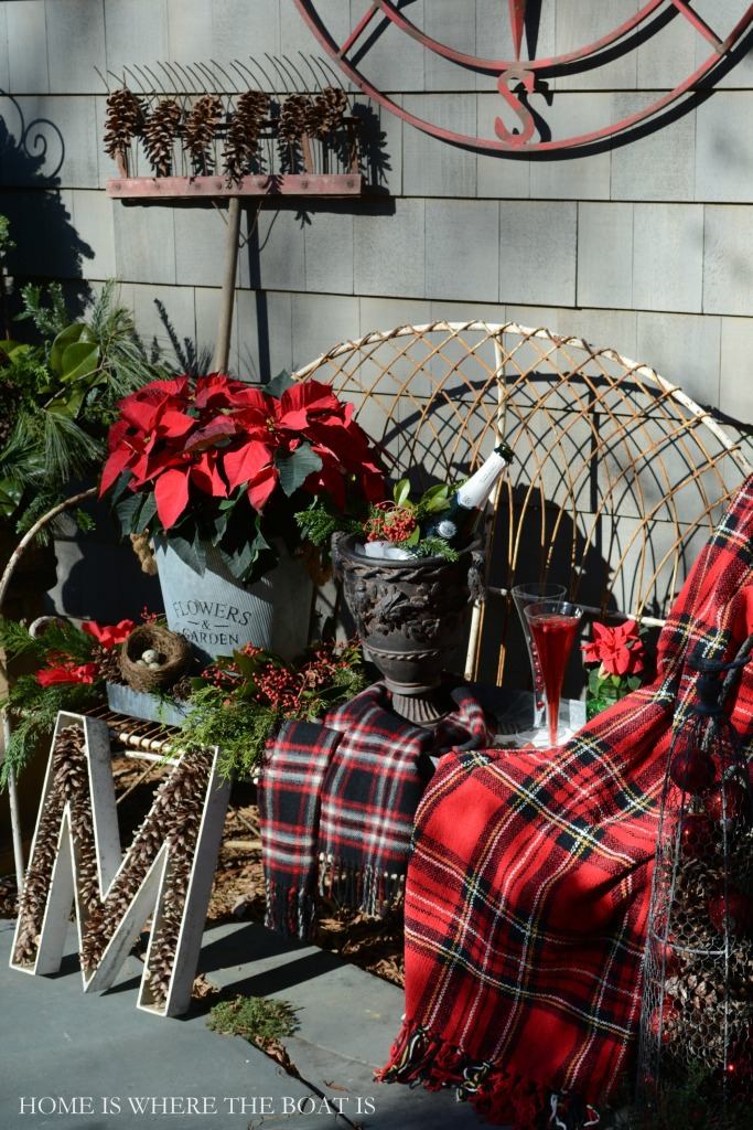 Potting Shed bench with tartan plaid, poinsettia and Sparkling Poinsettia Cocktail | ©homeiswheretheboatis.net