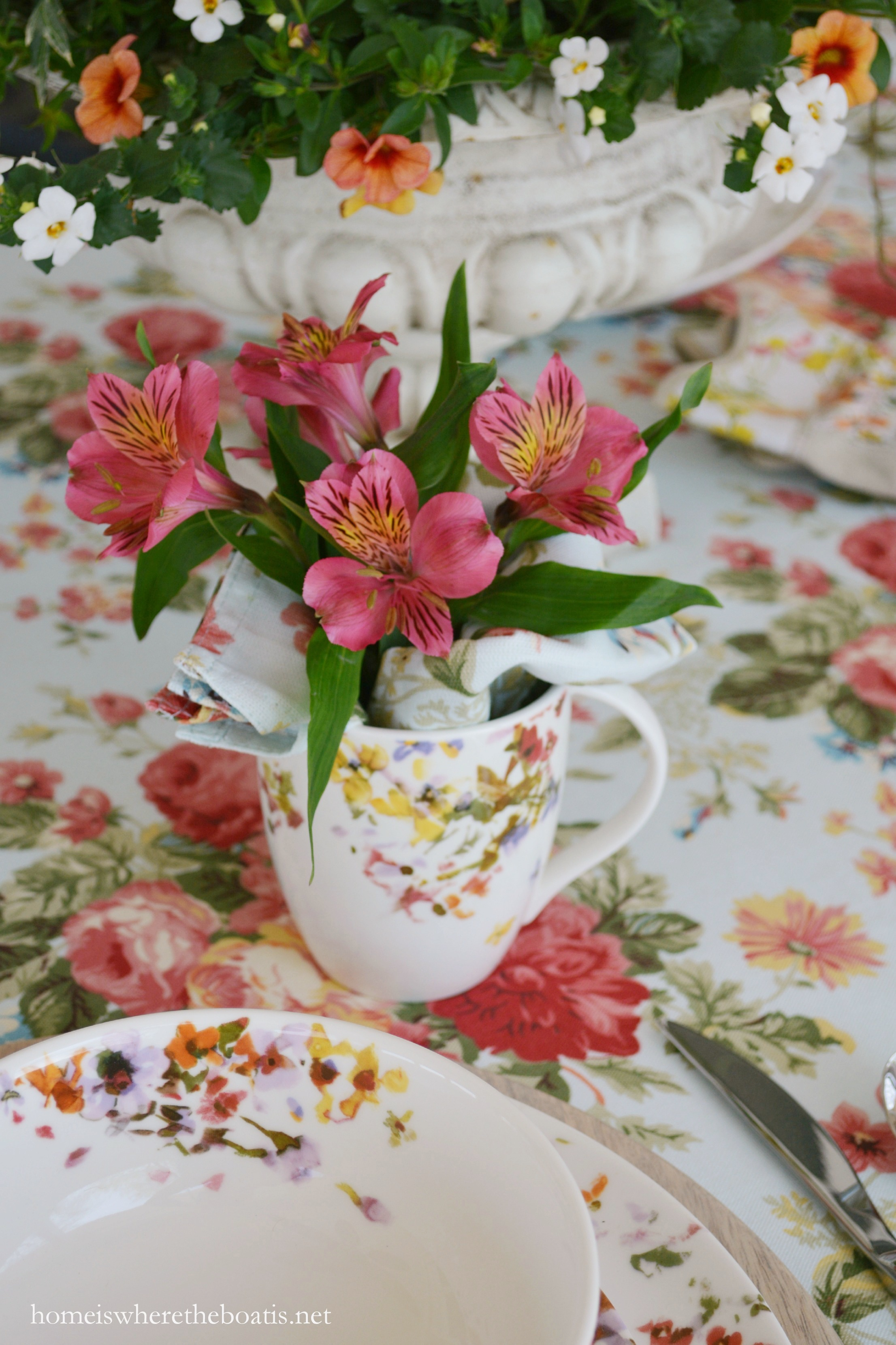 At The Table With Blooming Dishes Mikasa Sunset Valley