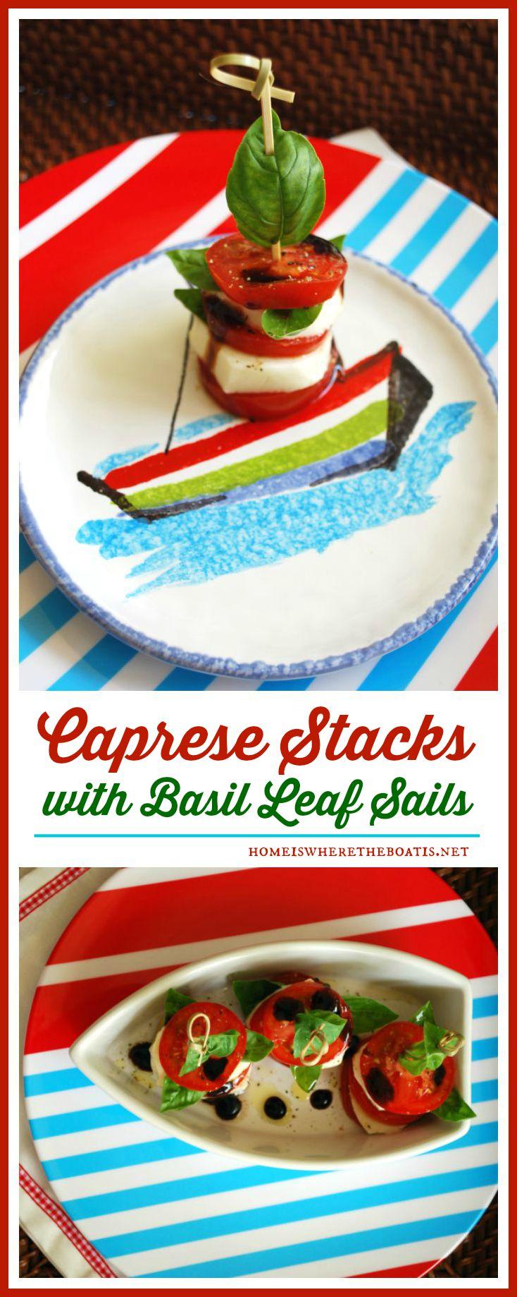 Caprese Stacks with Basil Leaf Sails