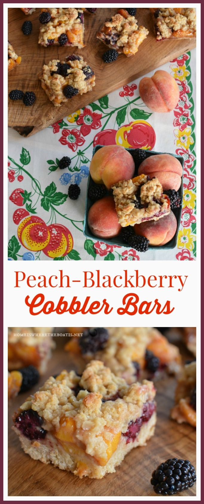 Peach Blackberry Cobbler Bars