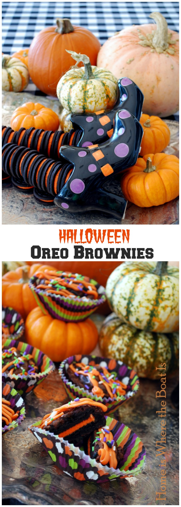 Halloween Oreo Brownies | ©homeiswheretheboatis.net #Halloween #oreo #recipes #browniess