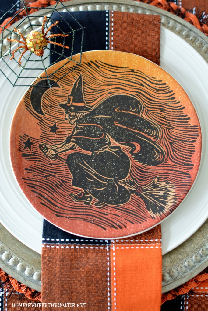 Witch plate and Halloween tablescape | homeiswheretheboatis.net #Halloween #tablescapes