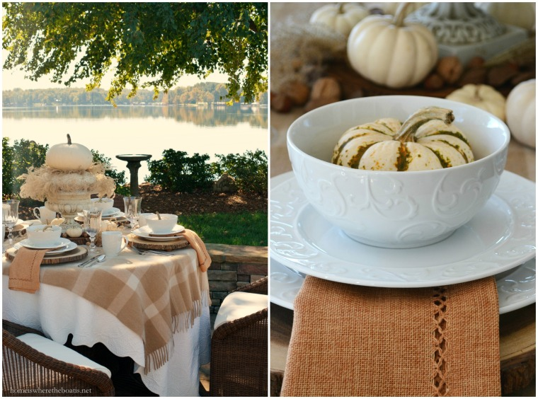 Fall Table with Pumpkins and Mikasa Parchment Engraved Dinnerware