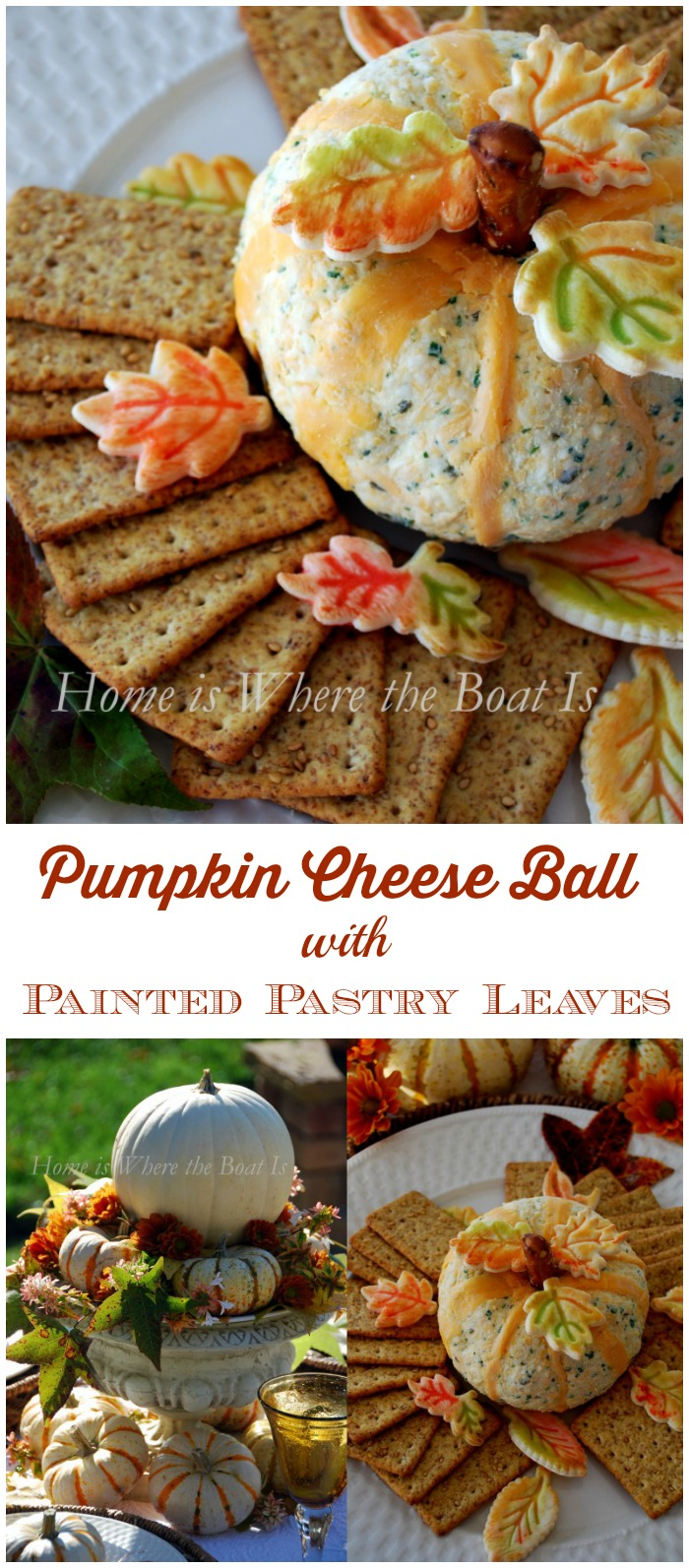 Pumpkin Cheese Ball with Painted Pastry Leaves