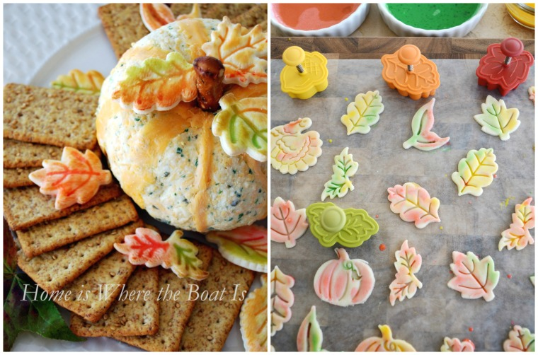 Painted Pie Crust Leaves and Pumpkin Cheese Ball