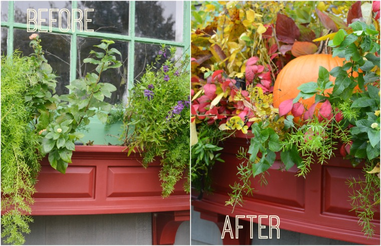 Before and After Quick Fix for a Fall Window Box