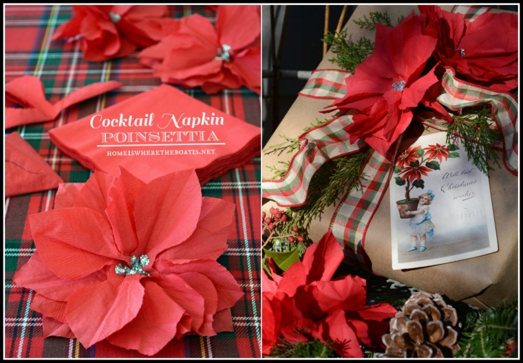 Cocktail Napkin Poinsettia Gift Wrap Embelishment