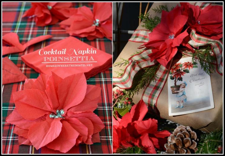Cocktail Napkin Poinsettia Gift Wrap Embelishment