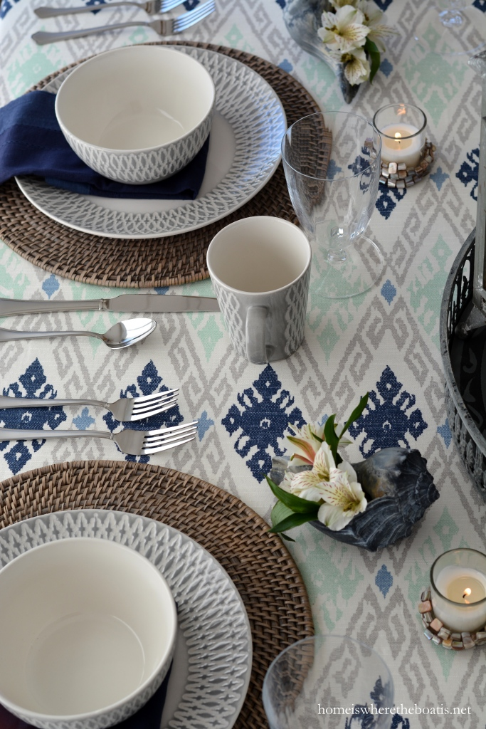 At The Table With Shells And Mikasa Aurora Grey Dinnerware