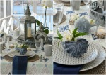Tablescape with shells and Mikasa Aurora Grey dinnerware