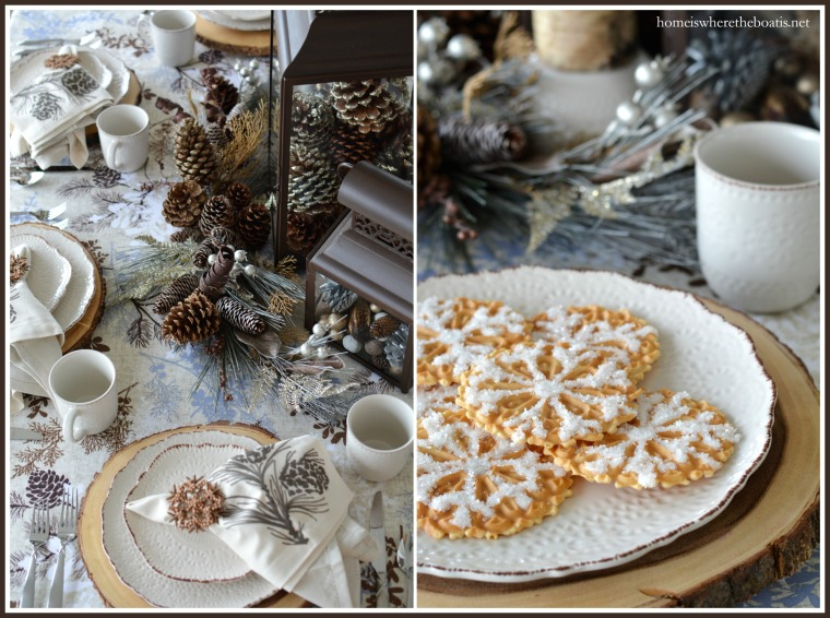 Winter Woodland Table, Snowflake Pizzelles and Pfaltzgraff Chateau Dinnerware