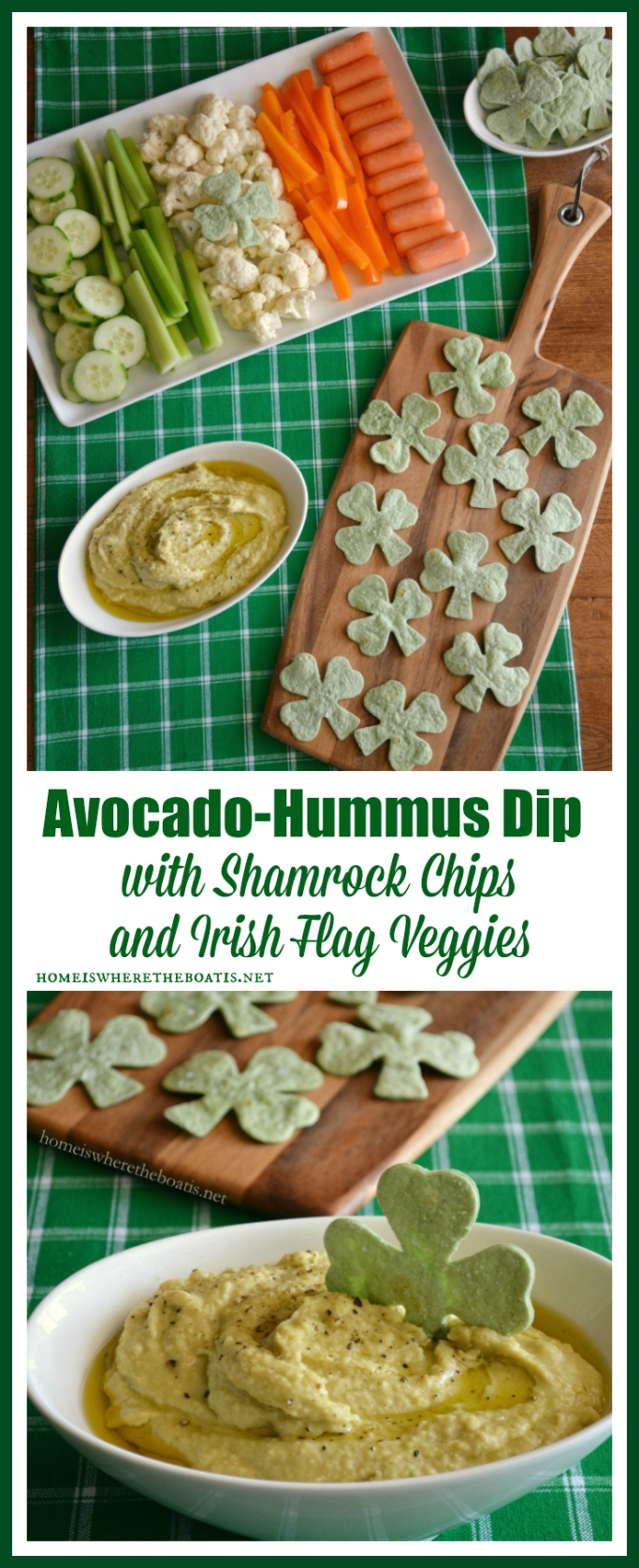 Avocado-Hummus Dip with Shamrock Chips and Irish Flag Veggies