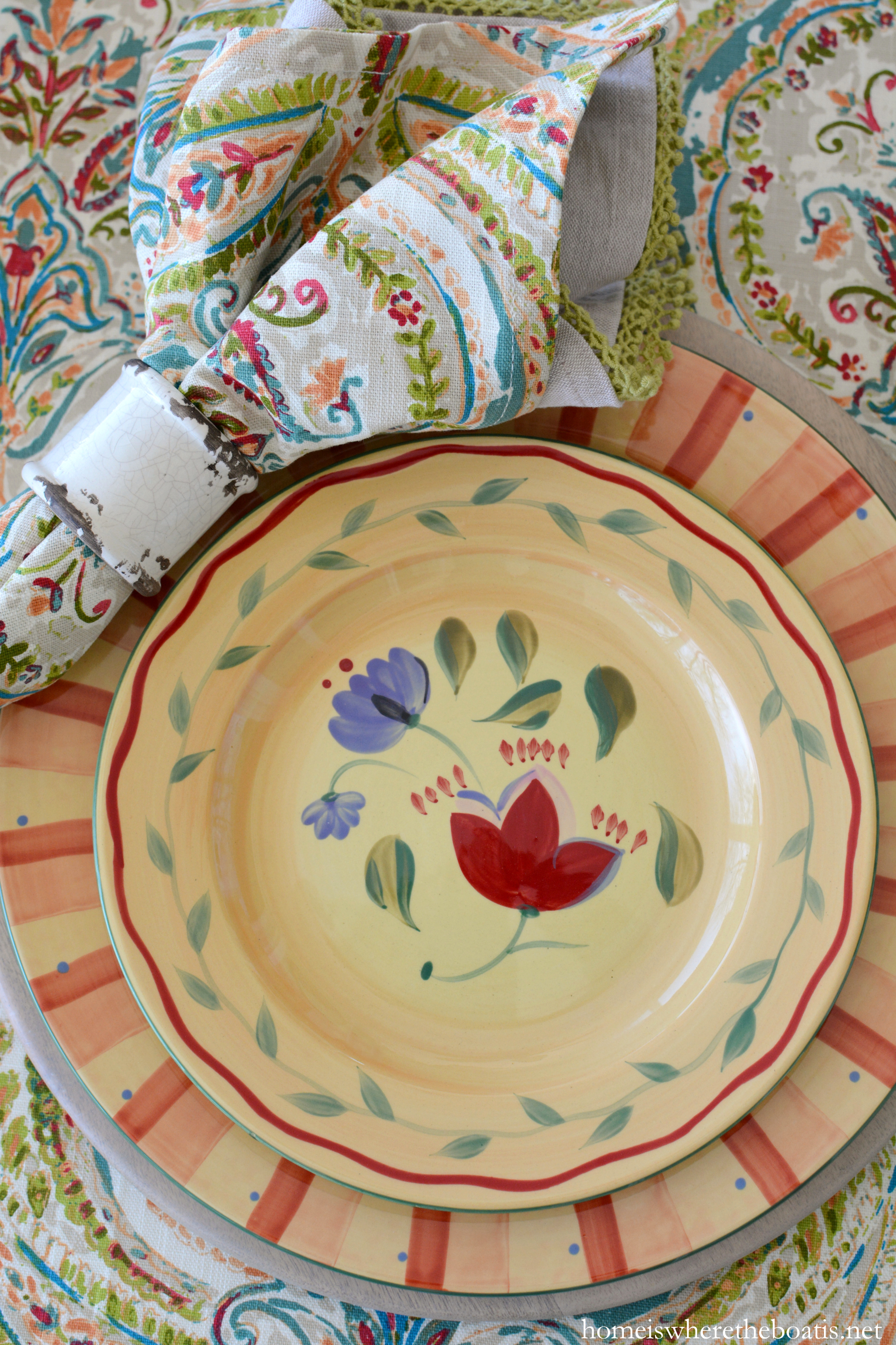 I\u0027m at the table with Napoli by Pfaltzgraff a hand-painted dinnerware collection that evokes the light and colors of the coast of Italy. & At the Table: A Citrus Centerpiece and Pfaltzgraff Napoli ...