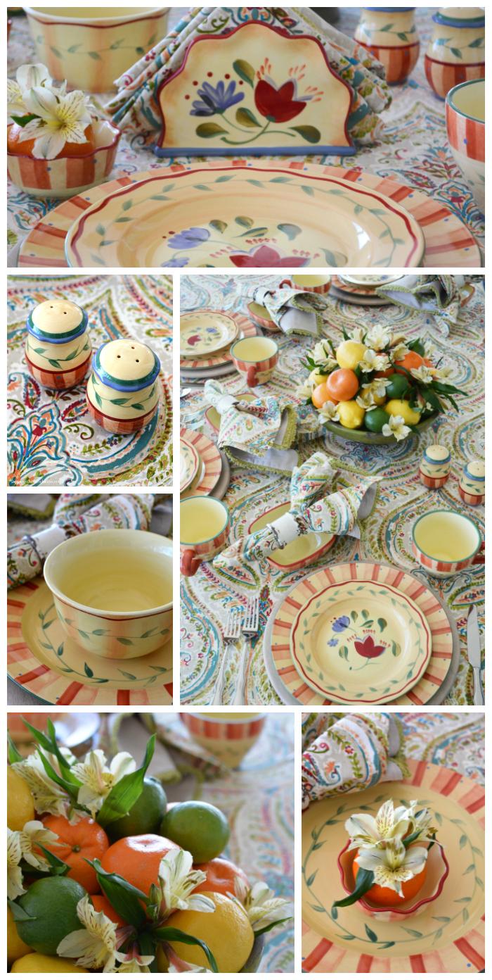 Pfaltzgraff Napoli Dinnerware and Citrus Table Centerpiece