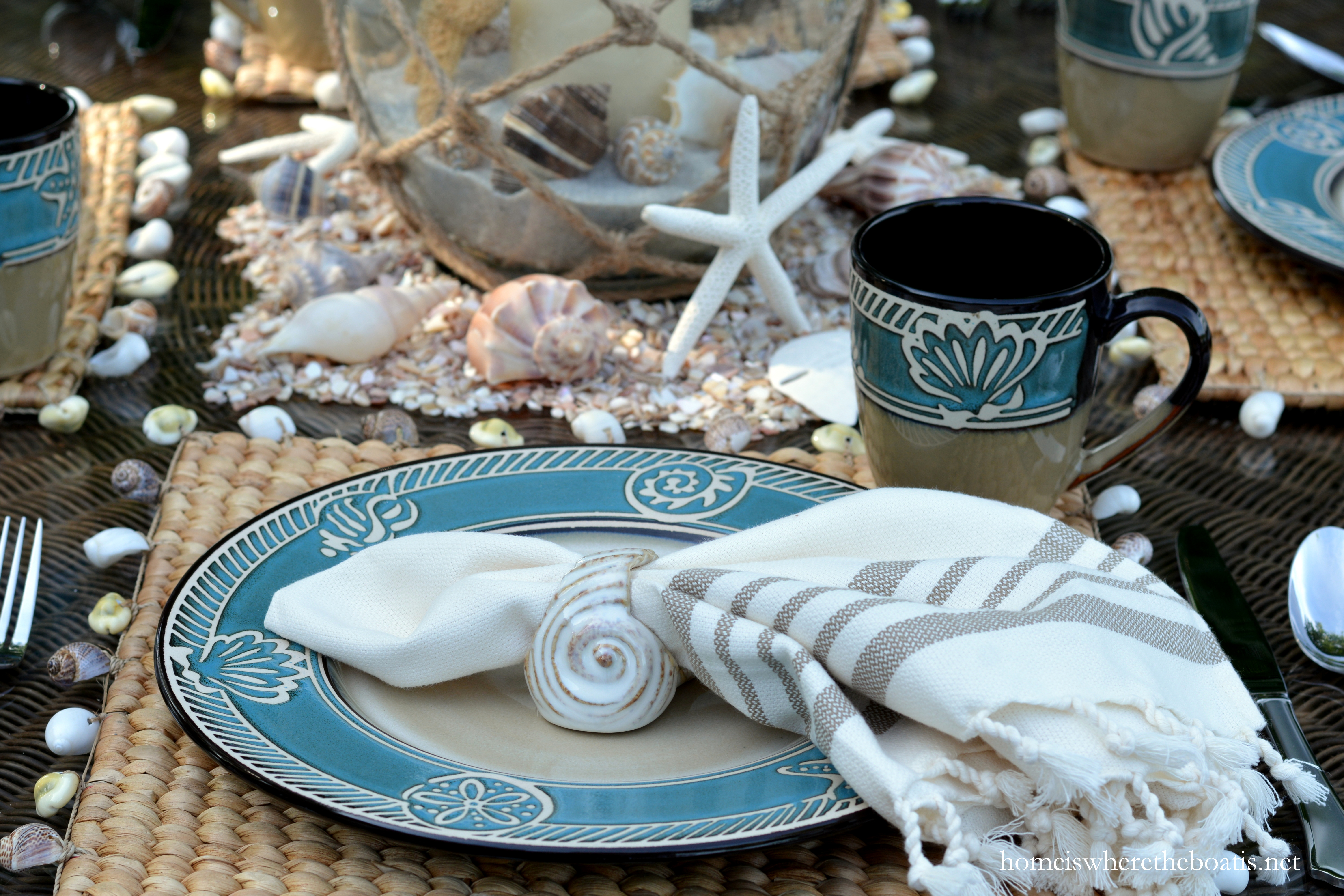 Square water hyacinth placemats with a fringed shell border washed ashore from World Market several years ago. & Beach-themed Table for Summer with Pfaltzgraff Montego \u2013 Home is ...