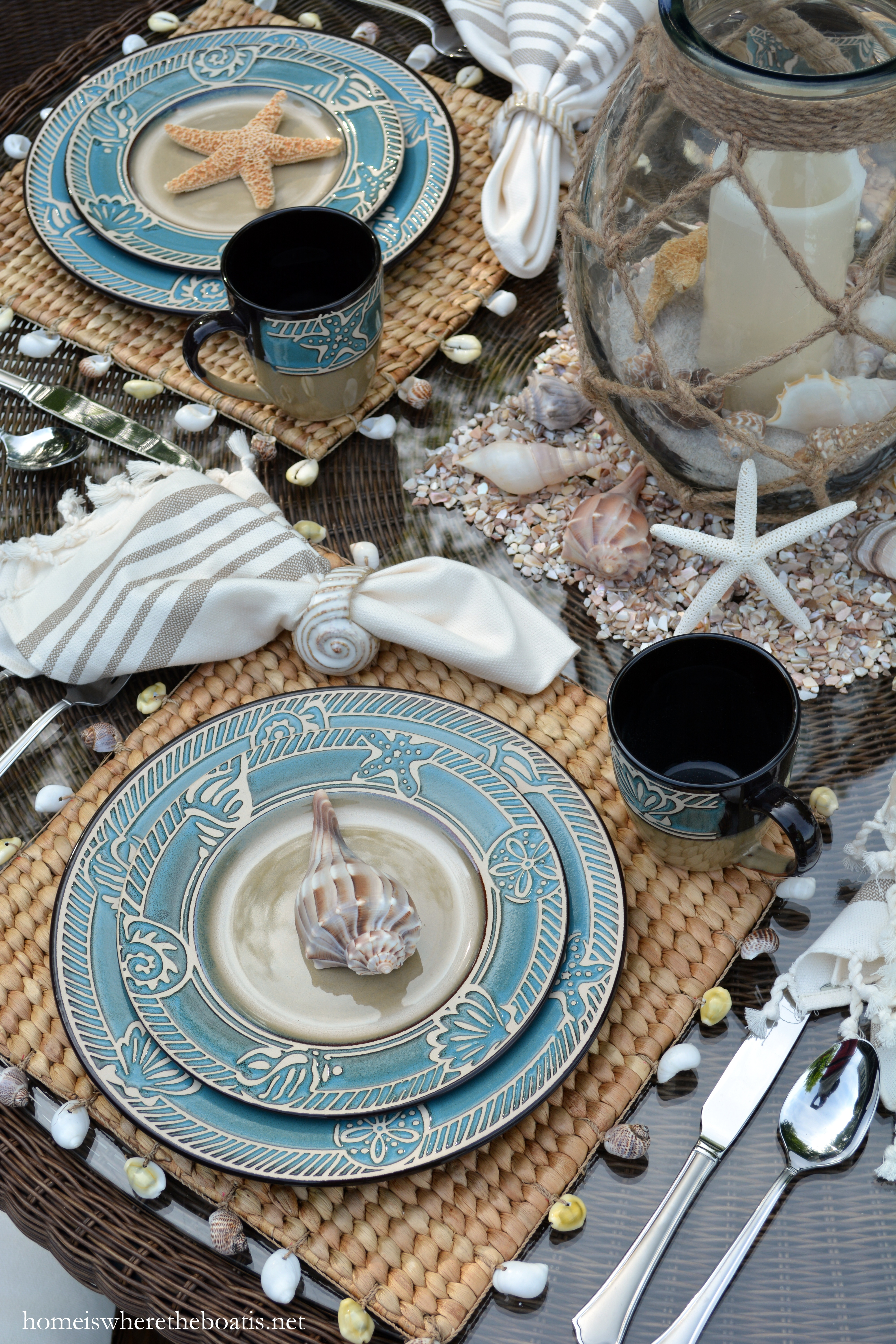 Shells starfish sand dollars and a nautical rope detail rim the borders of the plates bowls and mugs. & Beach-themed Table for Summer with Pfaltzgraff Montego u2013 Home is ...
