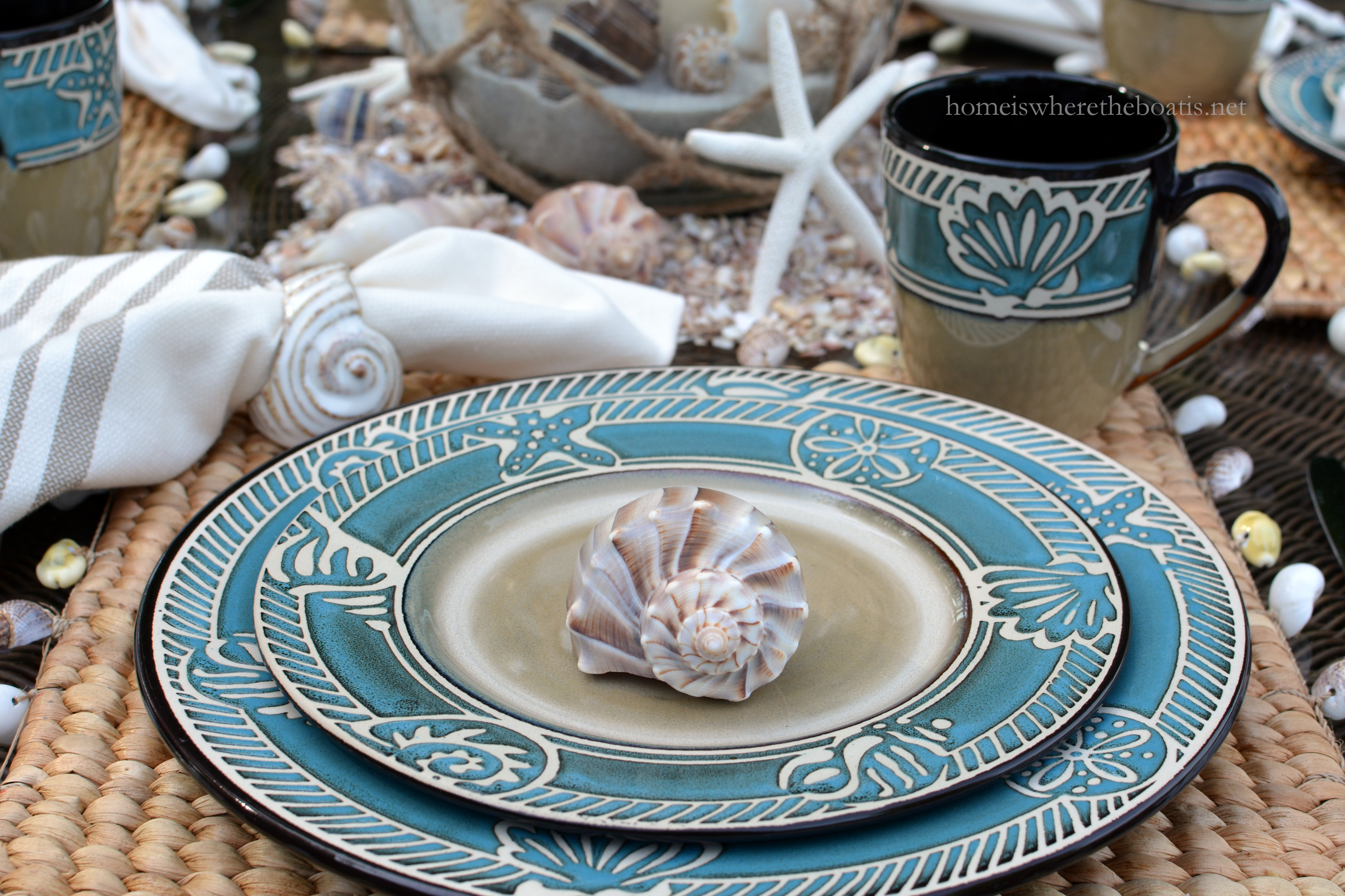 Happy Memorial Day! To kick off the unofficial start to summer I\u0027m taking you to the beach via the table and Pfaltzgraff Montego Dinnerware! & Beach-themed Table for Summer with Pfaltzgraff Montego \u2013 Home is ...